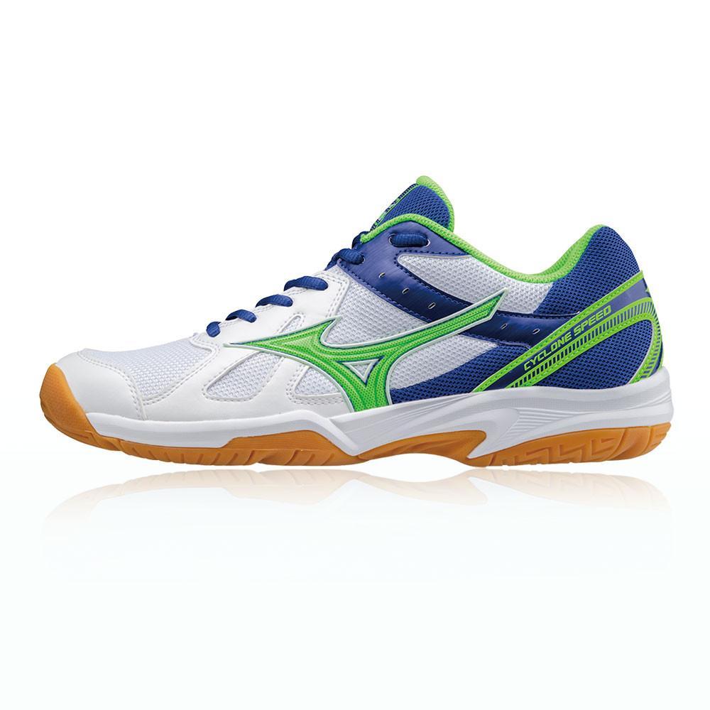 Mizuno – Hombre Cyclone Speed Zapatillas Para Canchas Interiores  – Aw17 Bádminton Blanco/Verde/Azul