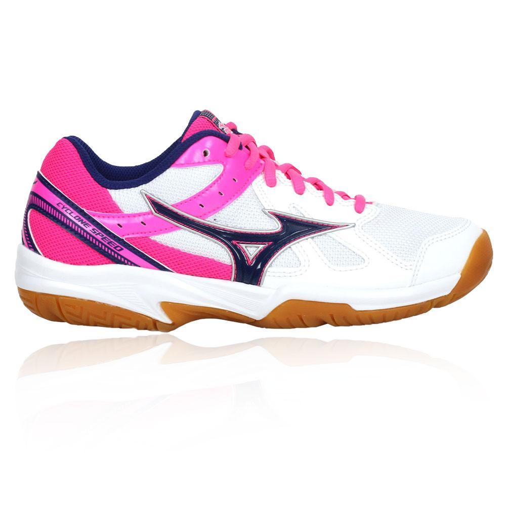 Mizuno – Mujer Cyclone Speed Para Mujer Zapatillas Para Canchas Interiores  – Ss18 Bádminton Blanco/Rosa