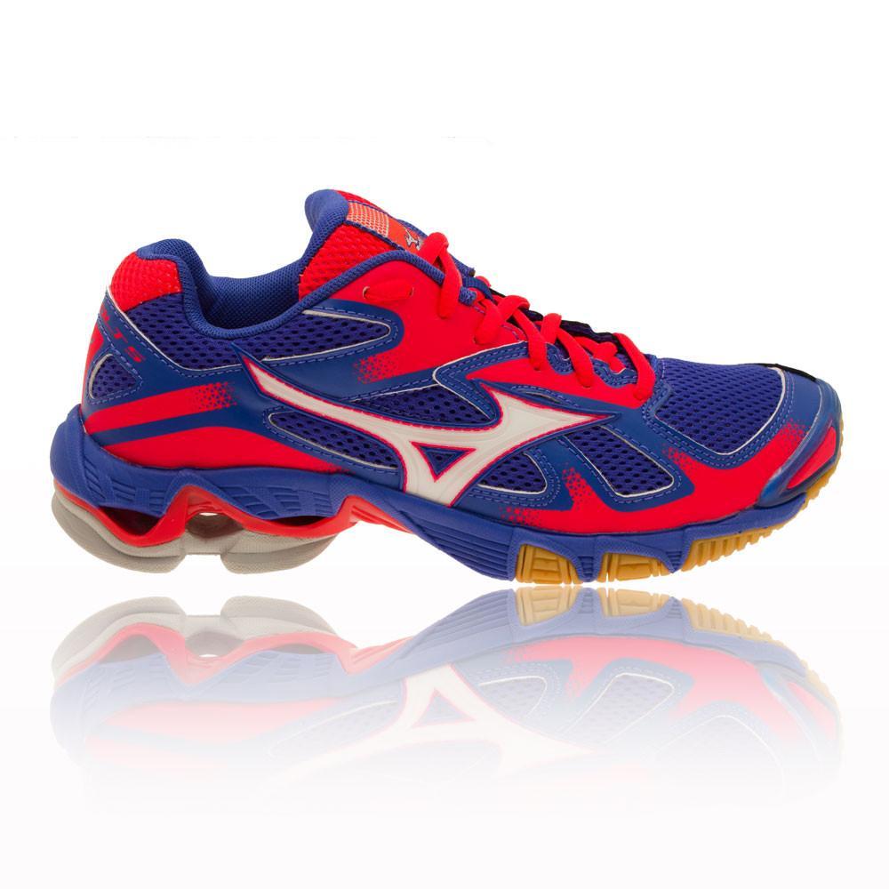 Mizuno – Mujer Wave Bolt 5 Para Mujer Zapatillas Para Canchas Interiores Squash Rosa/Azul