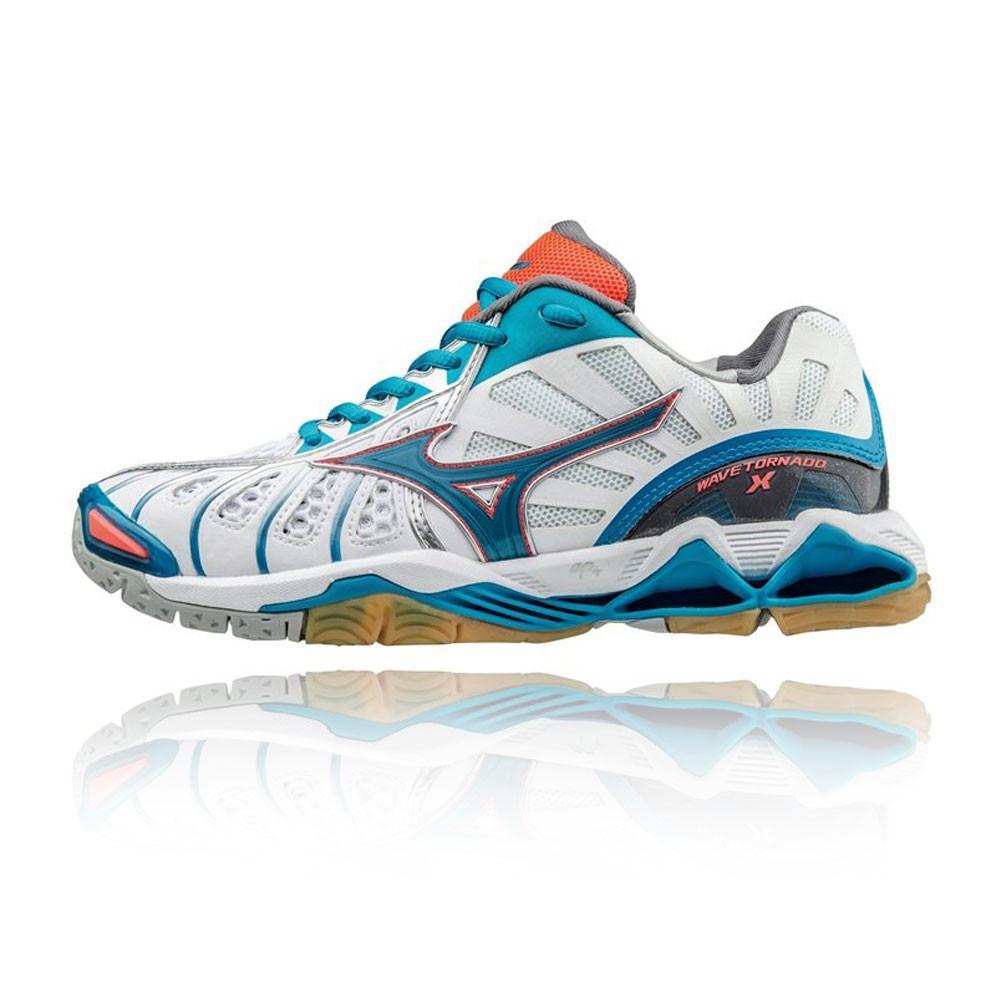 Mizuno – Mujer Wave Tornado X Para Mujer Indoor Zapatilla Indoor – Ss17 Squash Blanco/Azul